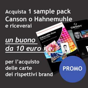 Acquista un sample pack Canson o Hahnemuhle e riceverai un buono da 10 euro i.e. per le carte dei rispettivi brand